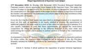 PRESS RELEASE: Illegal Appointment of Supreme Court Judges